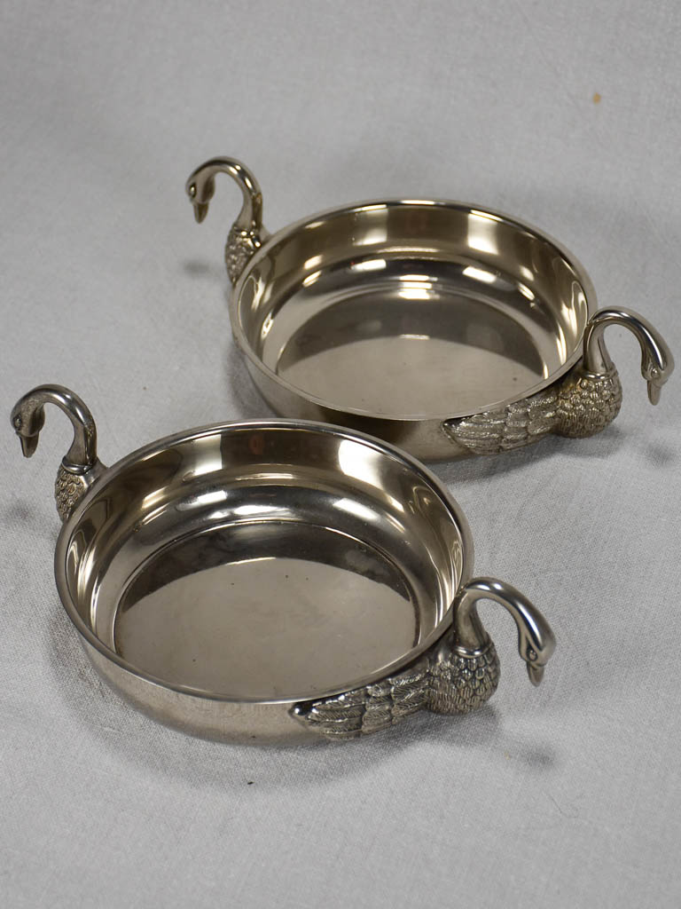 Pair of vintage aperitif bowls with goose neck handles 7""