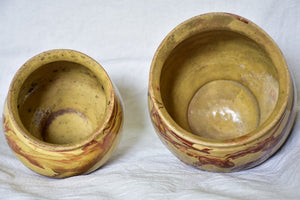 Two clay marbleized honey / preserving pots from Apt 7""