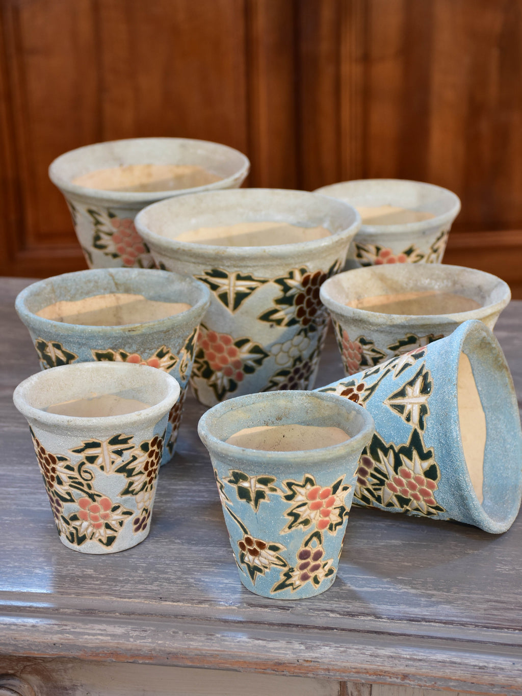Collection of 8 vintage French flower pots