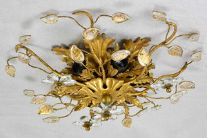 Pair of Maison Bagues style ceiling  / wall lights with pretty leaf motifs and gold tole 15¼""