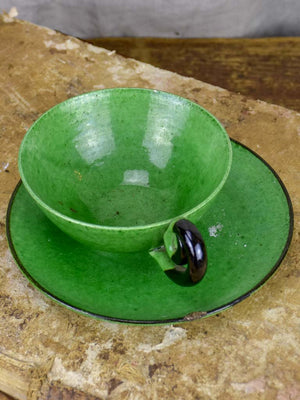 Collection of French pottery from Dieulefit with green glaze