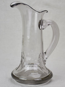 Antique French cider pitcher, blown glass with monogram
