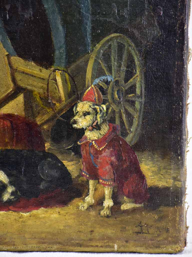 "Small antique French painting of performing dogs and a wagon 10¾"" x 8"""