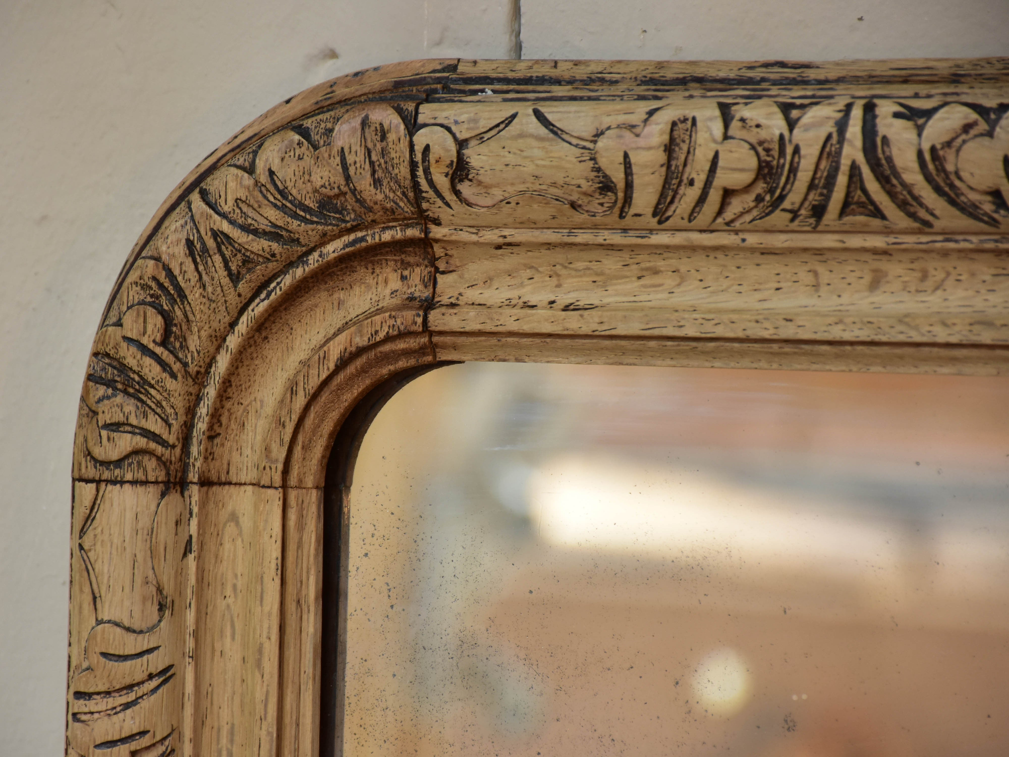 Extra-large raw solid oak Louis Philippe mirror