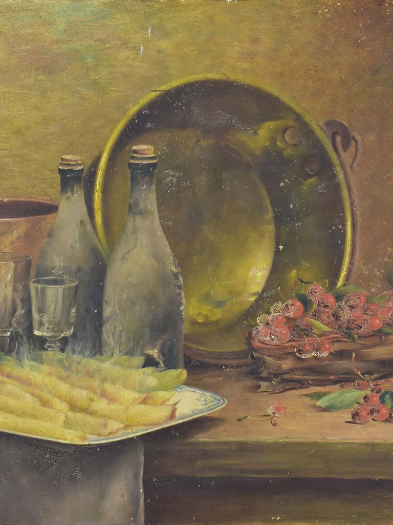 Antique French still life - asparagus, cherries and a copper pot 28¾ x 21¼""""