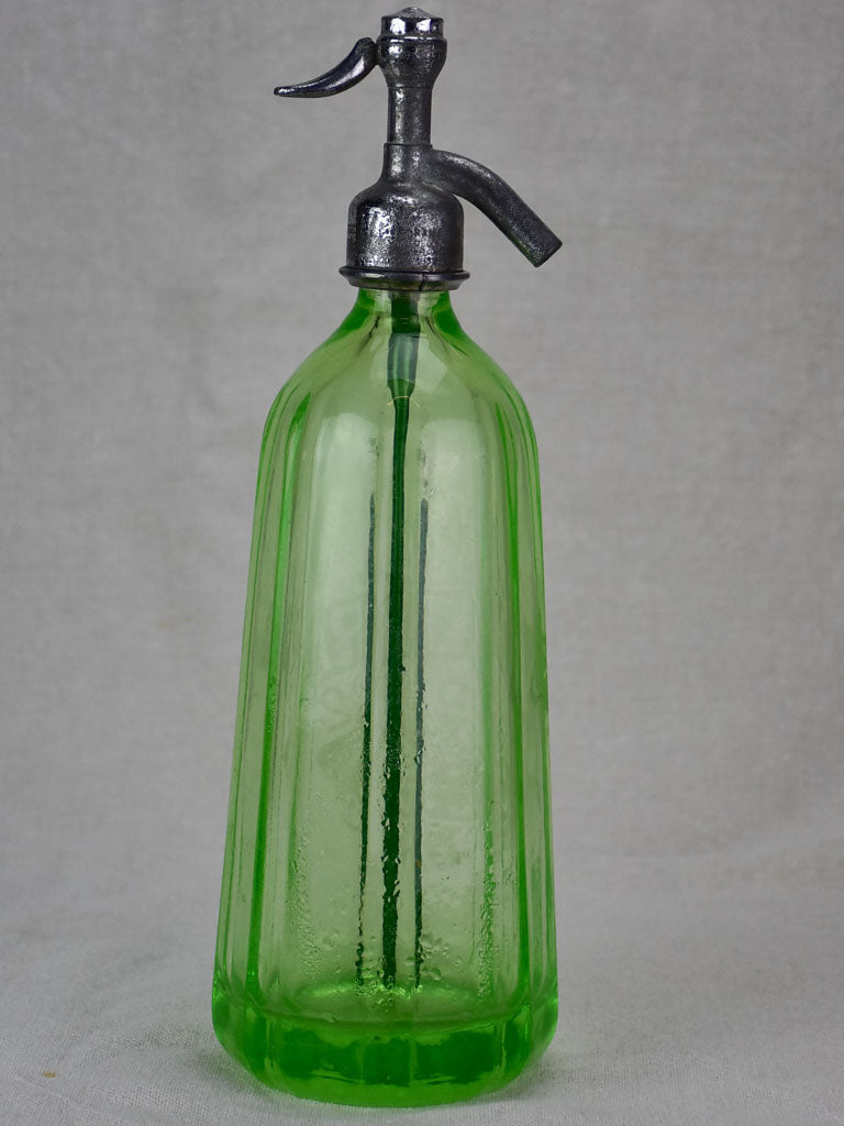 Uranium glass antique French seltzer bottle - A. Barre Quessy