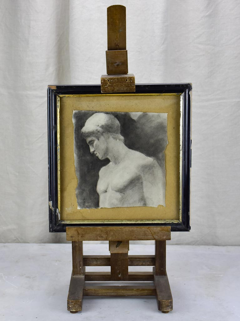 "Antique French easle with monochrome portrait of a man 11½"" x 12¼"""