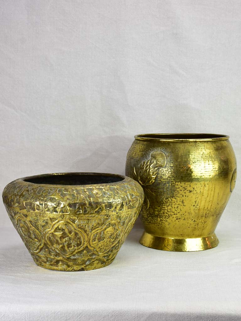 Two Art Deco brass cachepots pot plant stands