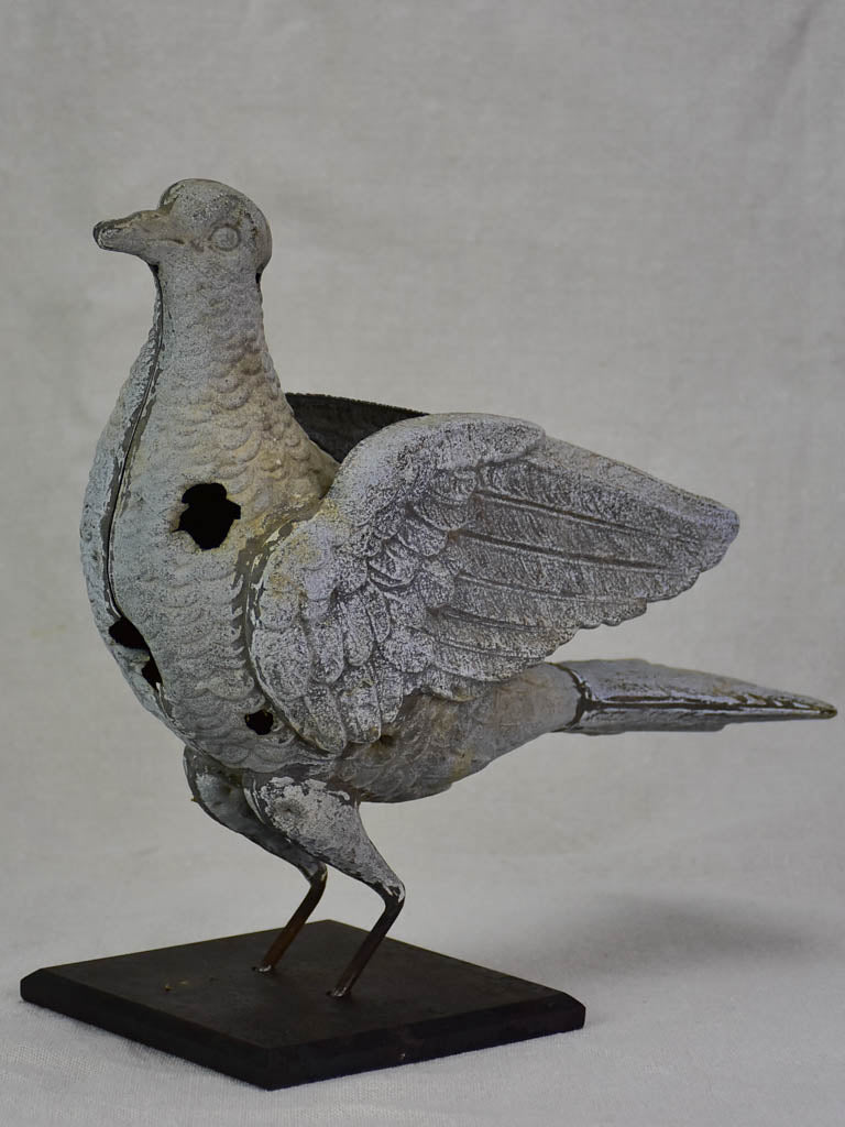 RESERVED Antique French weather vane pigeon mounted on iron block
