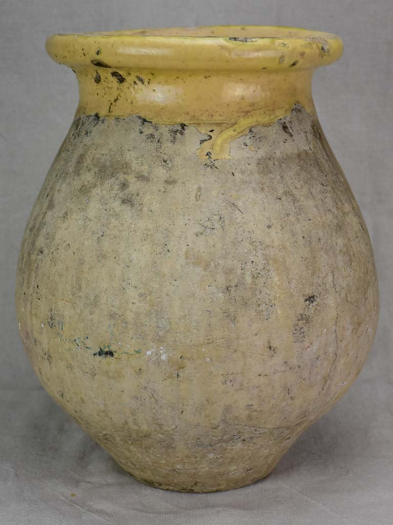 Antique French olive jar from Biot with apricot glaze 17""