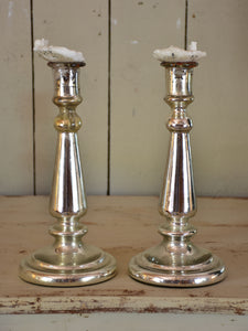 Pair of 18th century mercury glass candlesticks