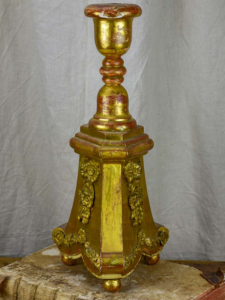 Antique church candlestick - gilded