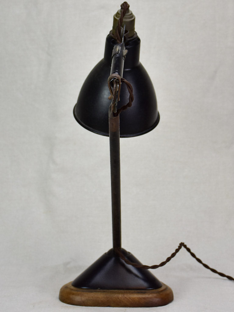Antique French industrial elbow lamp with oak base - Gras No. 206