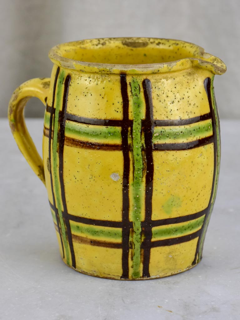 19th Century French milk / water pitcher with checkered pattern