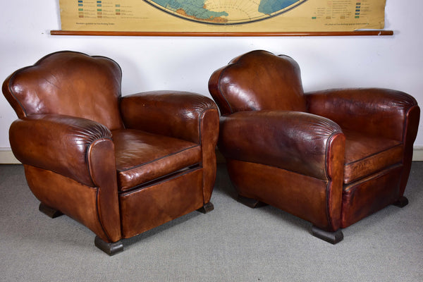 Pair of vintage French club chairs with cloud back