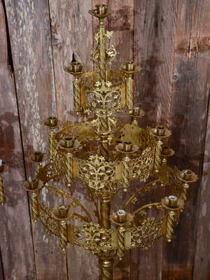 Pair of large gilded church candelabras