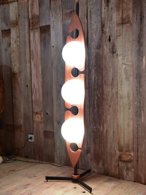 Vintage French floor lamp in teak