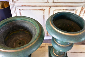 Two 19th century French zinc Medici urns with green finish