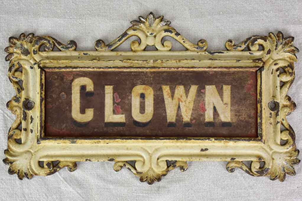 RESERVED JS 'Clown' antique French horse stable nameplate