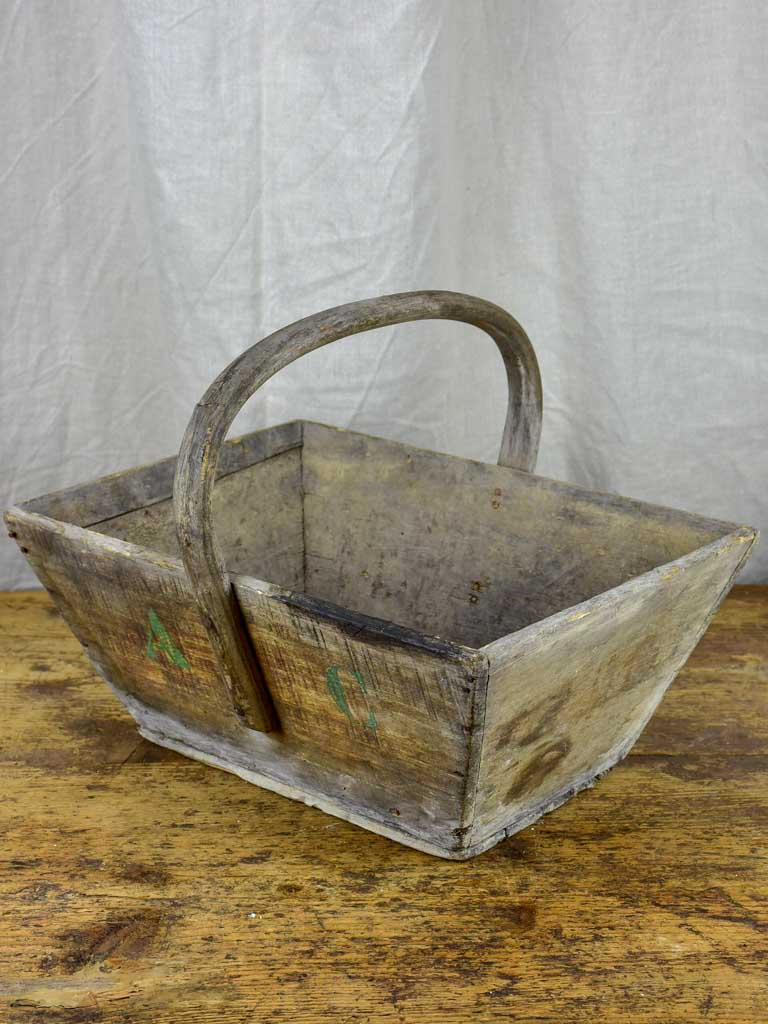 Antique wooden French harvest basket with AC monogram