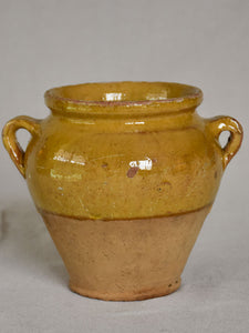Very small vintage French confit pot with yellow glaze 5""