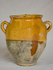 Small antique French confit pot with yellow glaze 6¾""