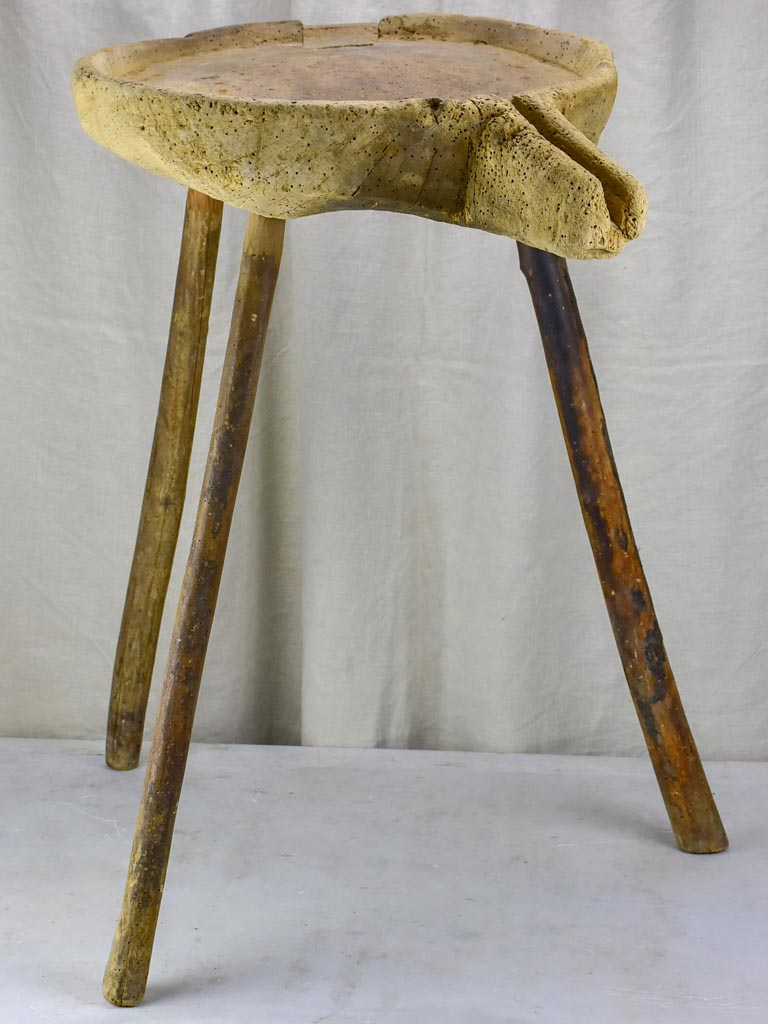 Primitive French cheese draining table with three legs