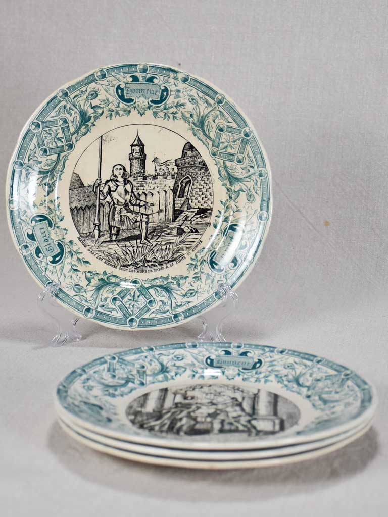 Set of four Sarreguemines themed story plates from the nineteenth-century - green 7½""
