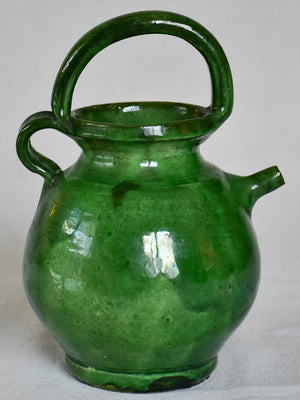 Miniature French cruche water pitcher with green glaze