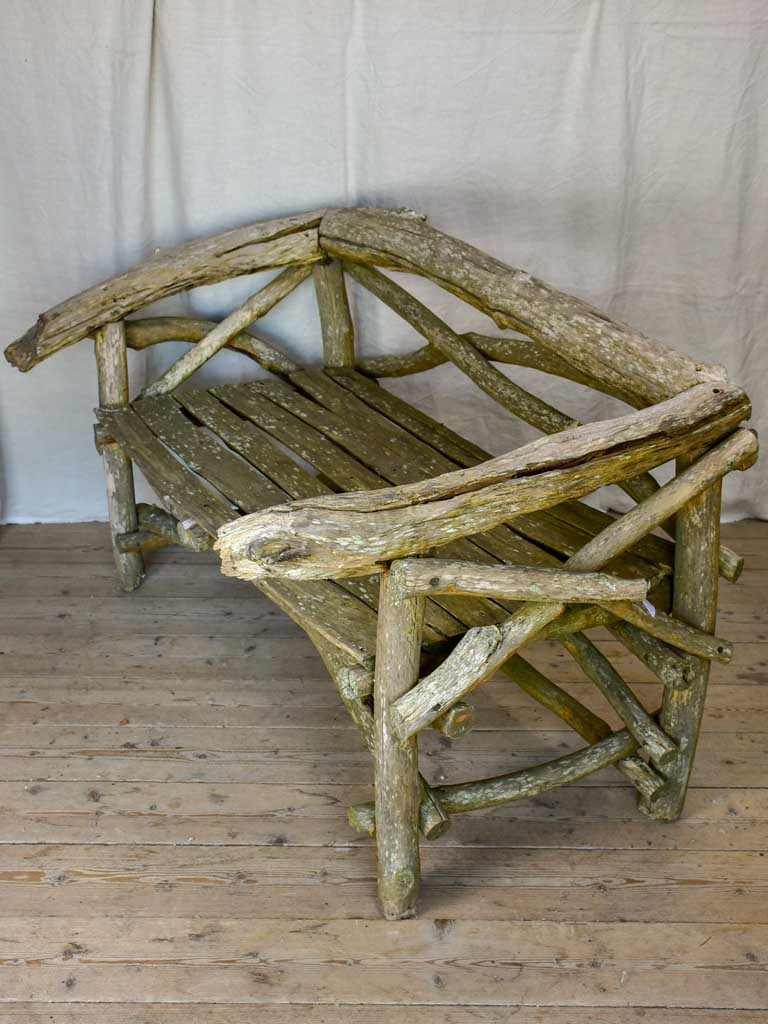 Primitive driftwood bench seat