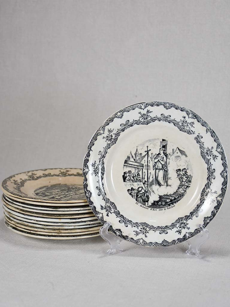 Set of twelve Jean d'Arc themed story plates from the nineteenth-century - monochrome 8""