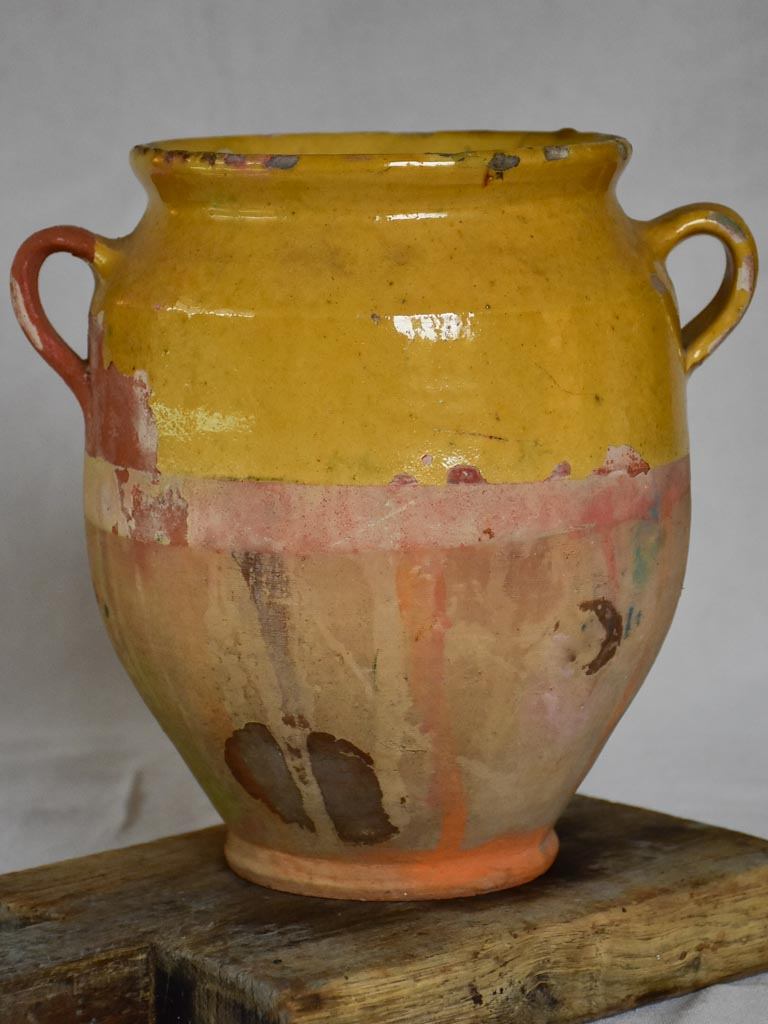 Medium French confit pot with yellow glaze 10¼""