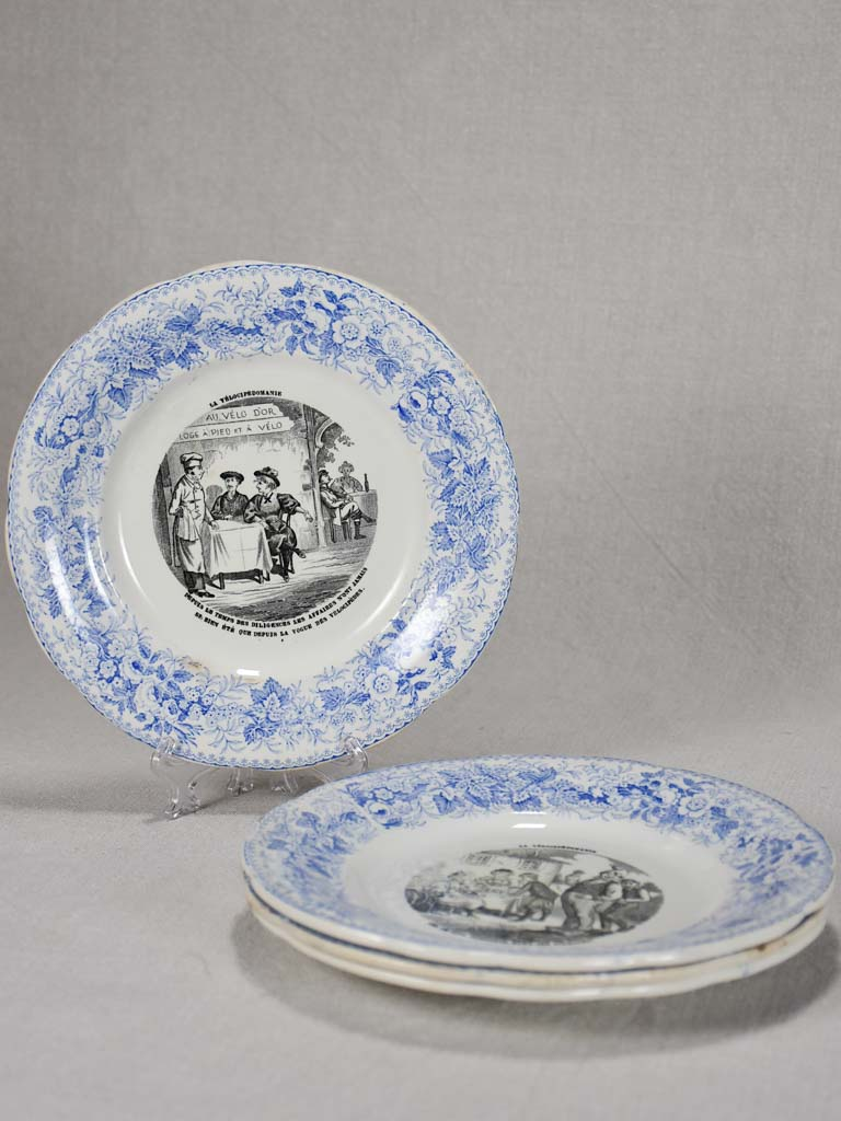 Set of four Velocipedomaine themed story plates from the nineteenth-century - blue 8""