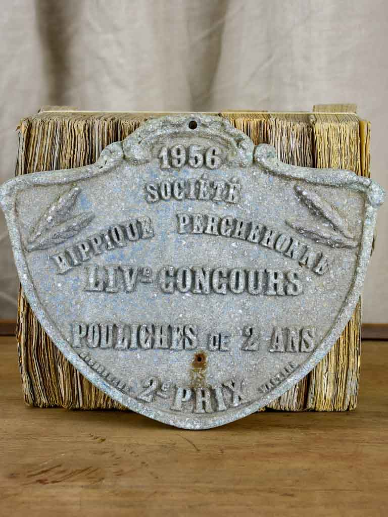 French Agricultural prize plaque, 1956 - Horse society