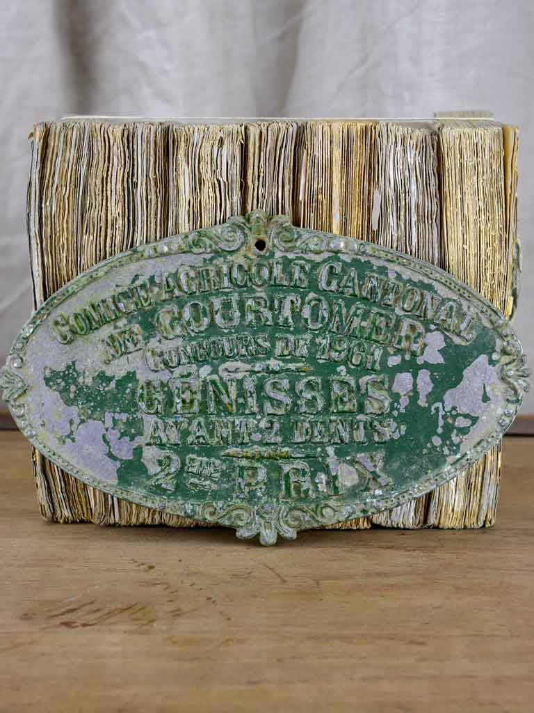 Vintage French agricultural prize plaque for heifers