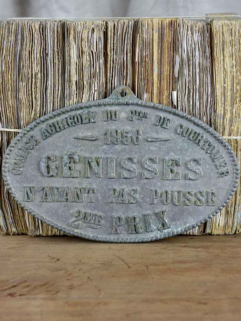1956 French agricultural prize plaque