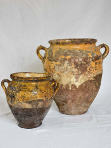 "Two rustic French confit pots with yellow glaze 8¼"" & 13"""