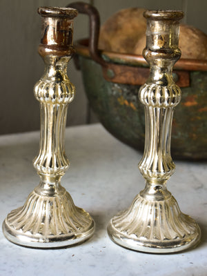 Pair of late 19th century French mercury glass candlesticks