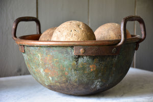 Rustic round French copper bowl with handles