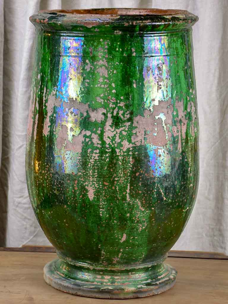 Antique olive jar with green glaze from Tournac, France