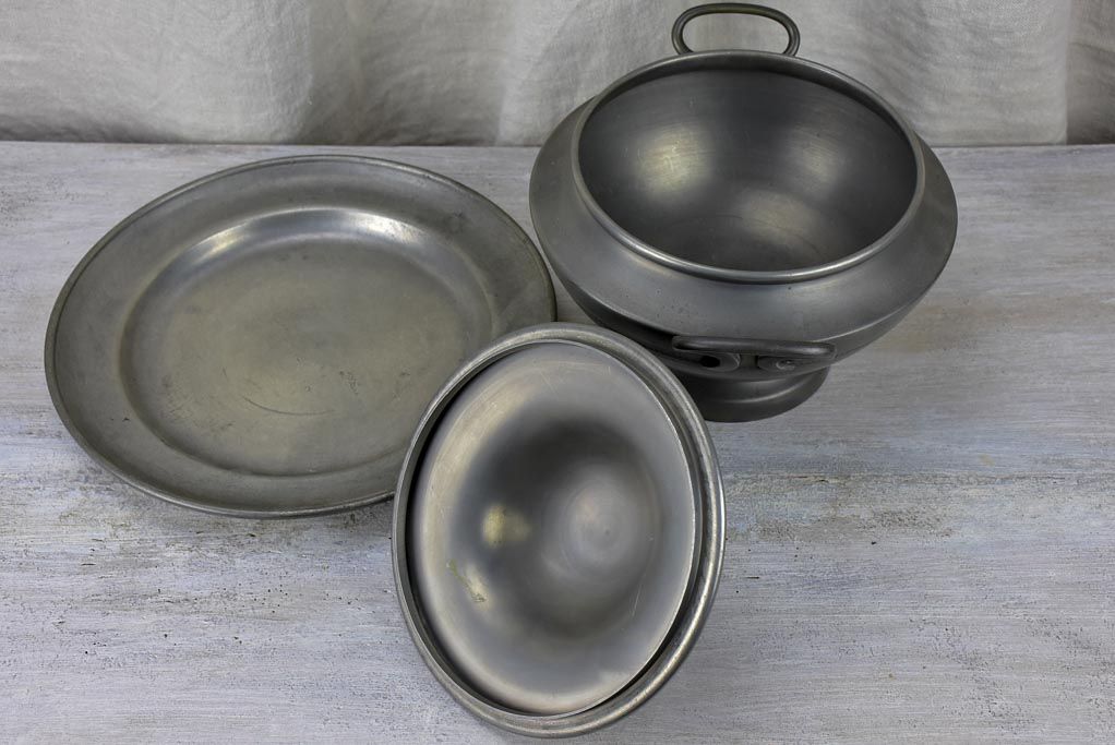Mid century pewter soup tureen and plate