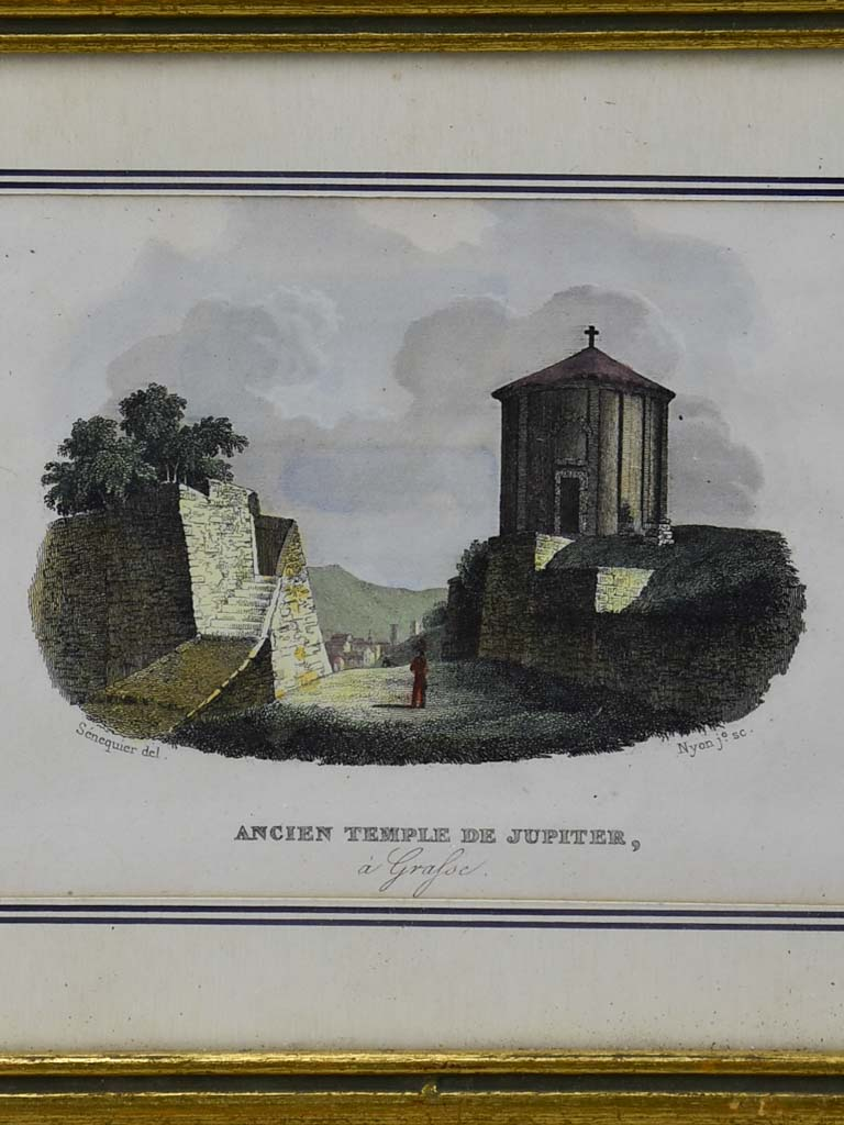 "Antique French framed engraving - Ancien Temple de Jupiter 7"" x 5½"""