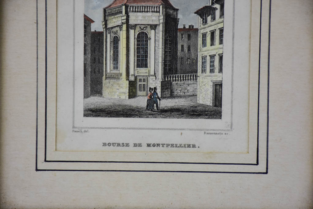 "Antique French framed engraving - Bourse de Montpellier 8¾"" x 7"""