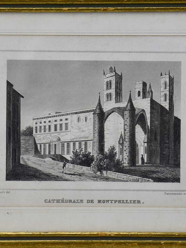 "Antique French framed engraving - Cathedral de Montpellier 5½"" x 7"""