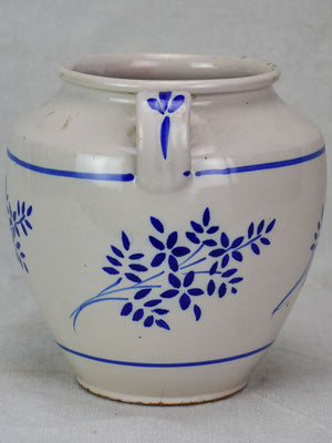 Antique French confit pot - white with blue flowers