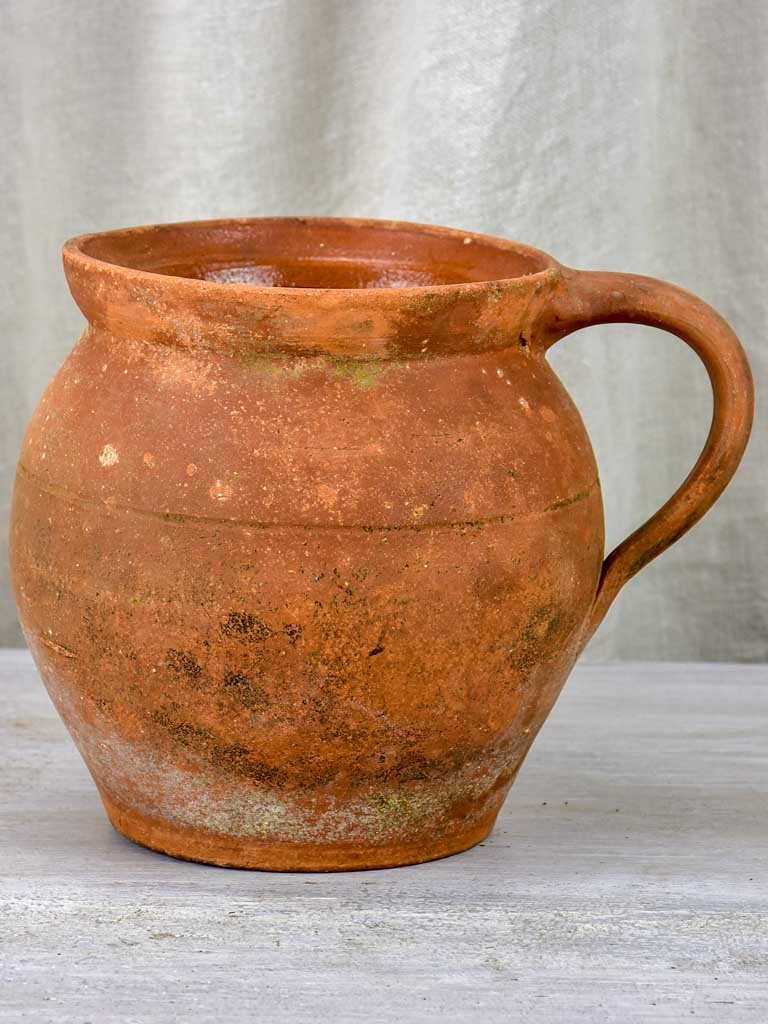 Early 20th century French terracotta pot with handle form Ardeche