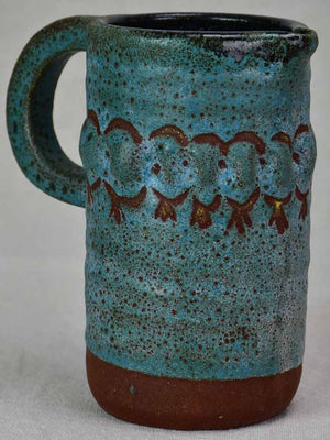 Vintage pitcher with turquoise glaze 7""