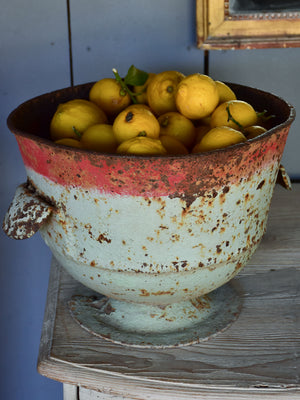 Rustic French planter with aqua and red patina