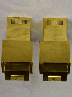 Pair of Høvik Lys vintage wall sconces - rectangular gold 9""