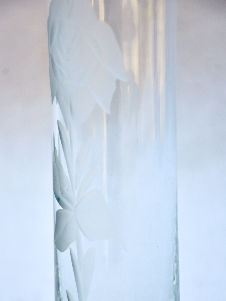 Mid-century crystal vase with engraved flower 8¼""